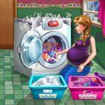Игра Беременная принцесса: День стирки / Pregnant Princess Laundry Day